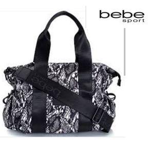 BEBE Sport Becca Large Duffel Black/White Snake Pr